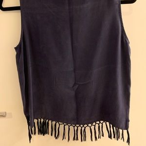 Amour Vert Navy tank with tassels on bottom—small